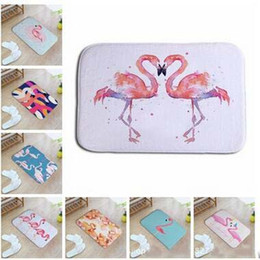 Painted Floor Mats Canada - Flamingos Printed Coral Fleece Carpets 40*60cm Anti-Slip Water Absorption Cartoon Painting Floor Mat Carpets Bedroom Living Room Floor Mat