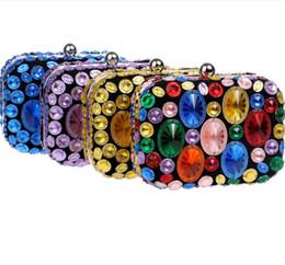 $enCountryForm.capitalKeyWord NZ - Women Clutches Purses Bags Women Color Diamond Studded Evening Crystal Clutch Colorful Acrylic Crossbody Shoulder Purse