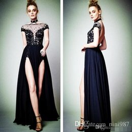 $enCountryForm.capitalKeyWord Canada - 2017Sexy Cap Sleeve Black Lace Appliques Evening Dresses High Split Backless 2017 Berta Latest Formal Evening Gowns Special Occasion Dresses