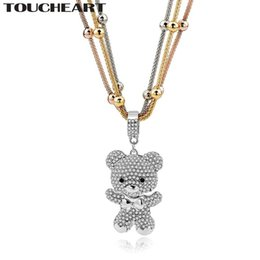 Vintage Multilayer Necklace Canada - TOUCHEART MultiLayer Love Gold Statement Necklaces For Women Crystal Bear Beads Long Pendant Necklace Vintage Jewelry SNE150786