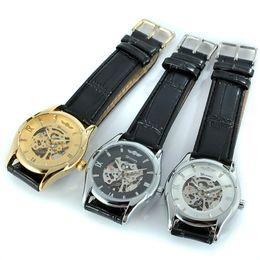 Fashion Gem Vintage Canada - Hot Sale Senior Gem Glass Manual Mechanical Watch Men's Leather Watches WINNER Vintage Man Hollow Watch