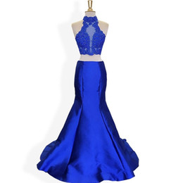 $enCountryForm.capitalKeyWord UK - Sexy Royal Blue High Neck Mermaid Cheap Pageant Dresses Long 2018 Plus size New Arrival Applique With Beaded Satin Prom Evening Dress Gowns