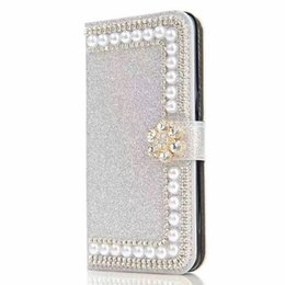 $enCountryForm.capitalKeyWord UK - For LG K7 K10 V10 V20 G5 G4 G3 X Power Tribute HD LS676 Shinny Glitter Leather Wallet Case Pouch Pearl Phone Cover