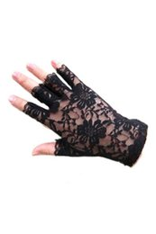 Barato Luvas Sem Dedos De Renda Preta-Atacado- New Party Sexy Dressy Women Lace Gloves Mittens Fingerless black