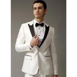 $enCountryForm.capitalKeyWord Canada - New Side Slit Custom made White Groom Tuxedos Men's Wedding Dress Prom Clothing (Jacket+Pants+tie).