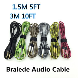 Audio Jack Lead NZ - 1.5M 3M 10FT Car Audio AUX Extension Cable Braided Wired Line Auxiliary Stereo Jack 3.5mm Male Lead for Apple Andrio Mobile Phone Speaker