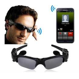 Chinese  Sunglasses Bluetooth Headset Sunglass Stereo Wireless Sports Headphone Handsfree Earphones mp3 Music Player With Retail Package manufacturers