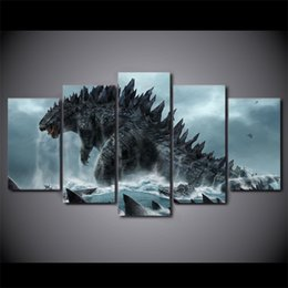 free hd movies 2019 - 5 Pcs Set Framed HD Printed godzilla movie Painting on canvas room decoration print poster picture canvas Free shipping
