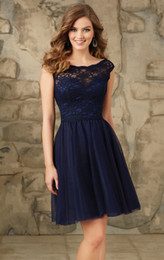 Robes De Club Bleu Foncé Pas Cher-Dark Navy Blue Short Homecoming Robes Backless Lace Cap Sleeve A Line 2017 Nouvelle Tulle Party Graduation Gown Plein plis Mini Hot Sale