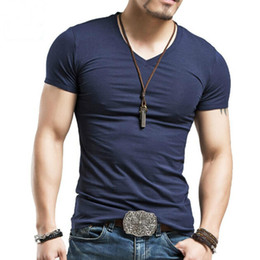Discount trend tees - Men's Tops Tees summer new cotton v neck short sleeve t shirt men fashion trends fitness tshirt free shipping LT39