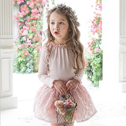 Barato Coreano Miúdos-2017 New Girls Tee Shirt Coreano Ruffle Long Sleeve Children T-shirt Outono Cotton Kids Tops Cute Girl Blouser C1635