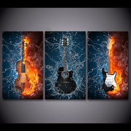 $enCountryForm.capitalKeyWord Canada - HD Printed 3 Panels Canvas Art Black Burning Guitar Music Canvas Painting Room Decor Canvas Wall Art Posters Picture NY-6611C