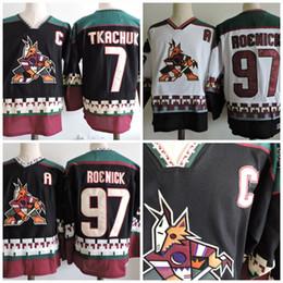 Phoenix Coyotes Jerseys  97 Jeremy Roenick  7 Keith Tkachuk Hockey Jerseys  Black White S-3XL Stock 165a0be1d