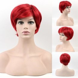 $enCountryForm.capitalKeyWord NZ - New Coming Heat Resistant Synthetic Celebrity Party Hair Natural Wavy Red Inclined Bang Short Wig For Women African Americans