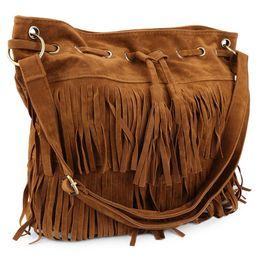 China 2017 Tassel Suede Bucket Bag Women Shoulder Bags Ladies Big Vintage Crossbody Messenger Bag Solid Fringe Handbags suppliers