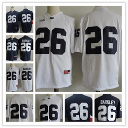 Mens Penn State Nittany Lions # 26 Saquon Barkley No Name Navy Blue White College Football Сшитые NCAA дешевые трикотажные изделия Взрослый размер S, 3XL