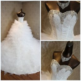 Photo Beads Canada - Sparkling Ball Gown Wedding Dress Court Train Real Photos Layers Tulle with Floral Appliique Sparkling Beads Crystal 2017 New Arrival Ivory