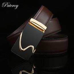 $enCountryForm.capitalKeyWord NZ - Wholesale- PATEROY Belt 2017 New Men Designer Leather Belts For Men Gold Metal Automatic Buckle Black Famous Men Belt Brand Luxury Ceinture