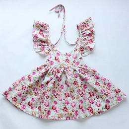 eff4d557cdf2 Everweekend Girls Summer Floral Dress Backless Suspend Cotton Dress Cute Baby  Ruffles Halter Sundress Princess Sweet Dress