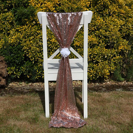 wholesale chair cover sash bows Australia - Luxury Rose Gold Sequin Chair Sashes Custom Made Wedding Party Decor Dazzling Chair Bows Chair Covers Size 50*200 cm
