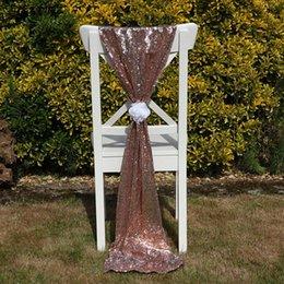 Роскошное розовое золото Sequin Chair Sashes Custom Made Wedding Party Decor Ослепительное кресло для брюк Размер крышки 50 * 200 см