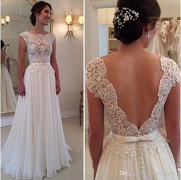 39fc0768eef Sexy Backless A Line Wedding Dresses 2017 Cap Sleeves Top Lace Floor Long Plus  Size Bridal Gowns For Beach Wedding Custom Made Cheap
