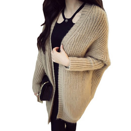 $enCountryForm.capitalKeyWord NZ - Cardigans 2017 Fashion Fall Winter Mohair Cardigan Long Style Women Sweater Bat Sleeve Loose Knitted Sweaters Free Size SW013