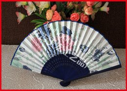 $enCountryForm.capitalKeyWord Canada - Ladies hand fans single side folding fans frame hollow out bamboo and dyed into deep blue color Chinese fans