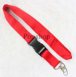 $enCountryForm.capitalKeyWord Australia - Pure color! Lanyard Keychain Key Chain ID Badge cell phone holder Neck Strap blak and red. free shipping