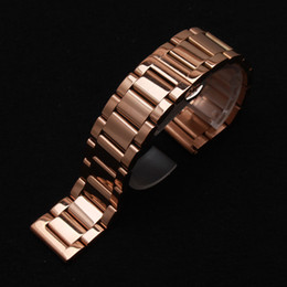 fashion stainless steel bracelet Canada - polished stainless steel metal Watch band strap Bracelet fashion butterfly buckle clasp watch accessories polished rosegold 18 20 21 22 23mm
