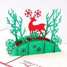 Wholesale Christmas Thank Cards Canada - 3D Pop Up Holiday Greeting Cards Deer Jesus Reindeer Christmas Thanksgiving vintage folding greeting card thank you christmas