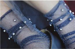 $enCountryForm.capitalKeyWord Canada - Glitter Mesh Silver beads Women Socks Fashion Short Socks Shiny Harajuku Soft Ladies Funny Socks Transparent Elastic Hosiery