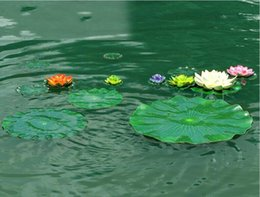 Discount plastic lotus plants - Dia of 10cm Artificial EVA Lotus Leaf Green Flower Plants Ornament for Garden Water Pool Decor Free Shipping