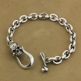 $enCountryForm.capitalKeyWord Canada - LINSION 925 Sterling Silver Skull OT clasp Mens Chain Biker Punk Bracelet TA42
