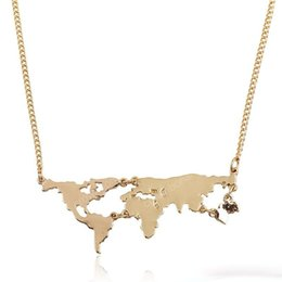 world geography map NZ - World Map Necklace exaggerated World Continents Clavicle Charm Geography Pendant Necklace Teacher Student Gifts Women And Men