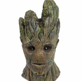 Barato Trajes De Halloween Da Árvore-Eu sou Groot Guardians do Galaxy Groot Mask Latex Helmet Overhead Costume Cosplay Green Tree Halloween