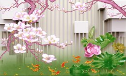 Carved Figures Canada - custom 3d wall murals Jade carved lotus magnolia flower nine fish Figure 3D TV backdrop wall wallpapers for living room 3d mural wallpaper