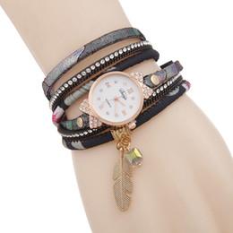 Discount bracelet tags - 2017 ms hot gold leaf rhinestone pendant bracelet table Dial set auger two laps around quartz watch