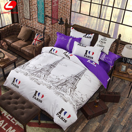 pair bedding Australia - Wholesale- Eiffel Tower bedding set 4pcs duvet cover set PAIRS bed set London duvet cover Violet flat sheet bed cover New York bedclothes