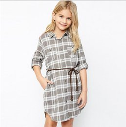 Camisas De Vestir Para Juniors Baratos-2017 Junior Plaid Dresses Teenager Fashion Casual Shirt Shirt Big Babies Spring Clothing ropa para niños