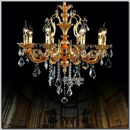 Chandelier Home Canada - European 8 Arms Gold Chandelier Crystal Light Fixture hanging Lamp Crystal Lustre Lighting Home Decor MD8858 L8 D680mm H600mm