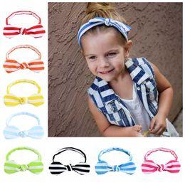 Headbands Bow Australia - Kids Bow Hair Accessories Striped Bows Headbands for Girls Baby Cotton Rabbit Ear Hairbands Children Boutique Headwear