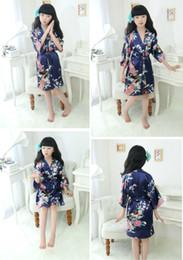 $enCountryForm.capitalKeyWord Canada - Kids Robe Satin Small Children Kimono Robes Bridesmaid Gift Flower Girl Dress Silk Bathrobe Nightgown Kimono robe 11 Colors 7 Sizes LC415-1
