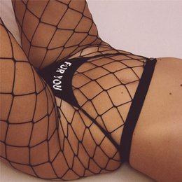 Barato Lingerie De Buracos Sexy-Atacado- Mulheres Sexy Fishnet Meias 2017Fish Net Pantyhose Big Hole Meias Sexy Night Clubwear Black Mesh Lingerie Meias sheer Gi