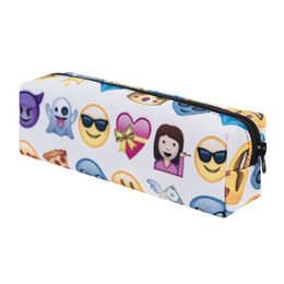 emoji stationery UK - Writing Case 3D Printing Emoji Pencil Bag Cosmetic Brush Storage Bags Student Stationery For Creative Gifts 7 5gr C R