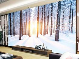 Toptan satış HD Ağaçlar Kış Kar Manzara TV Arka Plan Duvar Resimleri duvar 3d duvar kağıdı 3d duvar kağıtları için tv backdrop