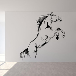 $enCountryForm.capitalKeyWord UK - Large Horse Running Wall Sticker PVC Self-adhsive Animal Wall Art Decal for Living Room Porch Home Decor