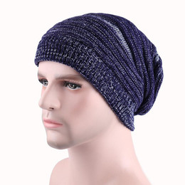 e48d428a7aa3 2017 newsest 5 color Winter Warm Casual Knit Hats For Men Baggy Beanie Hat  Crochet Slouchy Oversized Ski Cap