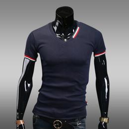 $enCountryForm.capitalKeyWord NZ - Newest Style Mens V-Neck Short Sleeve T-Shirt Slim Fit Tight Casual Basic Tee Shirts Cotton Summer Clothing