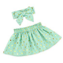 $enCountryForm.capitalKeyWord Canada - Heart Metallic High Waist Baby Girls Skirt Gold Girls Birthday Outfit Twirl Tutu Skirt Top Knot Bow Headband Girls Clothing Set